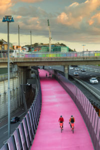 Cyclists on the Lightpath, Auckland, New Zealand, North Island, Oceania,