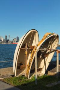 Boote an der Promenade, Skyline von Auckland, Nordinsel, Neuseeland, Ozeanien