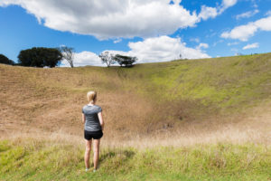 Volcanic crater on Mount Eden, Auckland, North Island, New Zealand, Oceania