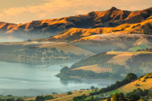 Morning mist, Banks Peninsula, Canterbury, South Island, New Zealand, Oceania