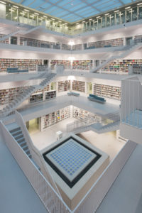 balcony hall with staircases and View into the so-called heart of the town library, architects RKW Eun Young Yi, Stuttgart, Baden-Wurttemberg, Germany