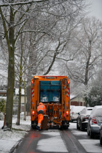 Refuse collection in winter, Stuttgart, Baden-Wuerttemberg, Germany