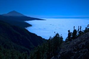 Night shot, Trade wind clouds below the Pico del Teide, Teide National Park, Tenerife, Canary Islands, Spain