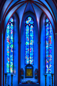 Chancery, Chagall window, parish church Sankt Stephan, Mainz, Rhineland-Palatinate, Germany