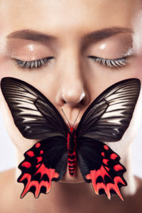 beauty composing picture with butterare flying, black-and-white red, eyes closed, nude like