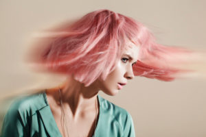 Lateral motion picture, fashion, pink hairs