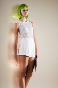 Fashion picture green short bob hairstyle with lighting effect