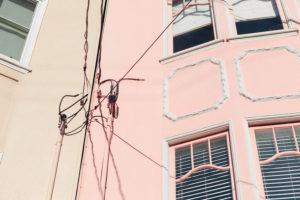 coloured house facades with stucco