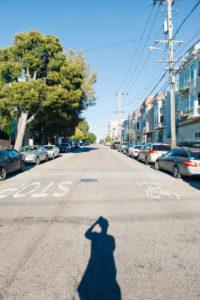 Streets of San Francisco house facades hazard line