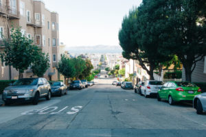 Streets of San Francisco with sea view