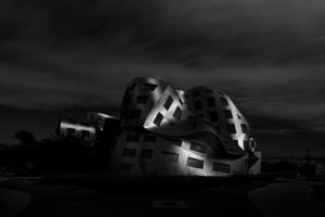 Architecture of Frank O. Gehry, building, silver, curved, Las Vegas, the USA