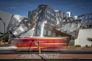Frank O. Gehry Architektur, hospital, passing by fire brigade, Las Vegas, the USA