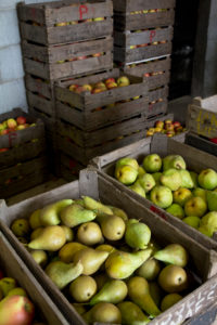 Box with apples and pears, directly from the bio-farmer in the Netherlands, fresh juicy healthy food, the perfect nutrition, fruit market, vegetable state