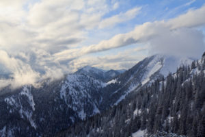 Mountain panorama in Bavaria with view to the alps, wintry cold scenario,