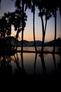 Fluss in Namibia, Afrika, Oase und Quell des Lebens für viele Tiere, Sonnenaufgang / Sonnenuntergang,