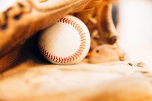 Baseball glove with baseball,