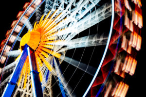Ferris wheel on a public festival, relaxed leisure time for young and old, 'Wiesn', Oktoberfest, Munich, Bavaria, Germany,
