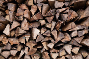 wood pile in the alps, close up