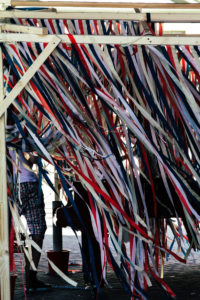 Folklore feast with colourful ribbons, Ghent, Flanders, Belgium