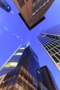 Europa, Deutschland, Hessen, Frankfurt, Hochhäuser im Bankenviertel, Commerzbank, Japan Tower, Taunusturm bei Nacht