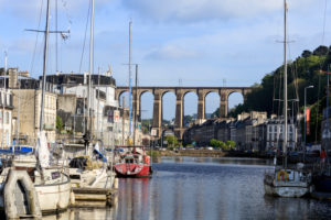 Europe, France, Brittany, Morlaix, view of the railway viaduct from the harbor