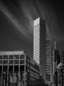 Europe, Germany, Hesse, Frankfurt, Eurotower, b / w