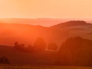 Europa, Deutschland, Hessen, Poppenhausen, Sonnenuntergang