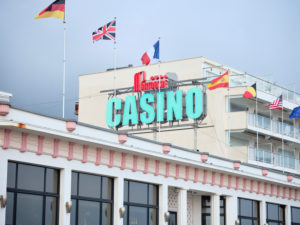 The Casino Partouche in La Baule-Escoublac against a cloudy sky in the Pays de la Loire region.