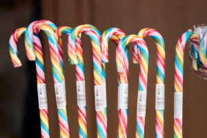 A stand with colorful candy canes during the Main Games holiday campaign for children in Frankfurt.