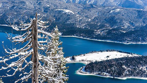 Ausblick auf den Walchensee mit Halbinsel Zwergern im Winter, bei Kochel, Bayern, Deutschland