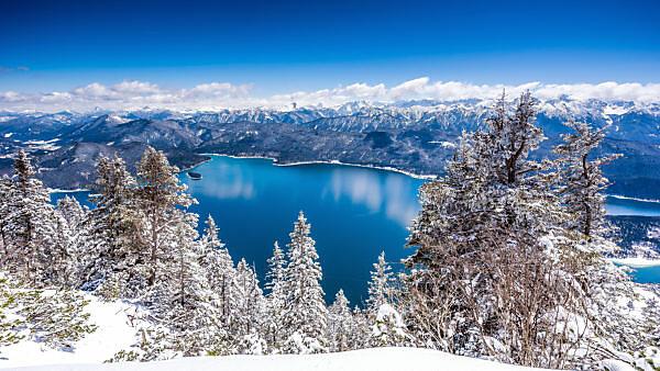 Ausblick vom Herzogstand auf den Walchensee im Winter, bei Kochel, Bayern, Deutschland
