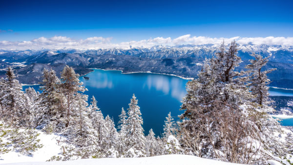 View from the Herzogstand to the Walchensee in winter, with Kochel, Bavaria, Germany