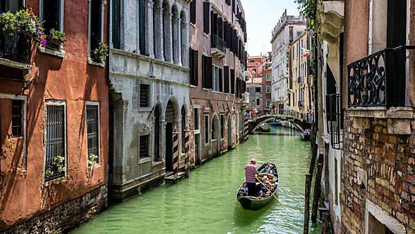 Gondola on channel, Venice, Veneto, Italy