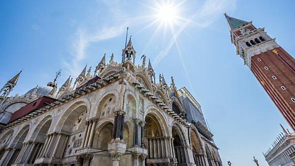 Campanile and St. Mark's Basilica on the St. Mark's Square, Venice, Veneto, Italy