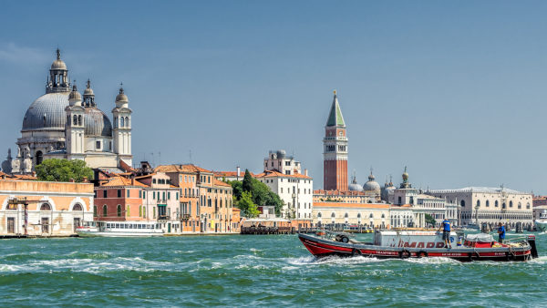 townscape with Campanile and St. Mark's Basilica, Venice, Veneto, Italy