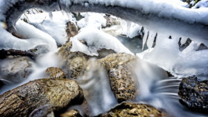 Icicles at the wintry stream course, close up, Mühlauer gorge, near Innsbruck, Tyrol, Austria