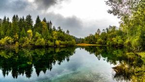 EON Reservoir, Krün, near Mittenwald, Werdenfelser Land, Upper Bavaria, Bavaria, Germany