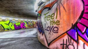 Graffitti on wall, Olympiaworld, Innsbruck, Tyrol, Austria