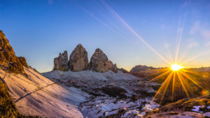 Drei Zinnen in the sundown in winter, Dolomites, South Tyrol, Italy