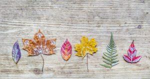 Blätter, unterschiedlich, bemalt