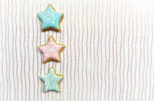 Plätzchen, Sterne, drei, unterschiedlich