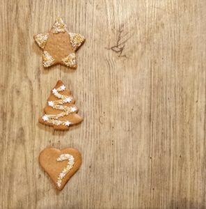 Gingerbread, three, star, Christmas tree, heart, decorated, Christmassy