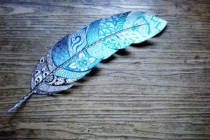 Feather, drawn, pattern, wood,