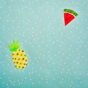 Aquarell, Ananas, Melone, Hintergrund, Dreiecke