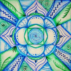 Mandala, watercolor, third eye