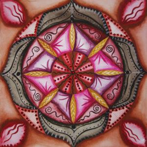 Mandala, watercolor, root chakra