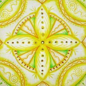 Mandala, watercolor, solar plexus chakra