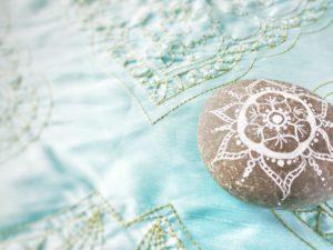 Stone, painted, mandala