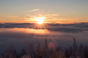 Germany, Saxony, Erzgebirge, Fichtelberg, winter landscape, sunrise