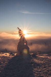 Germany, Saxony, Erzgebirge, Fichtelberg, sunrise